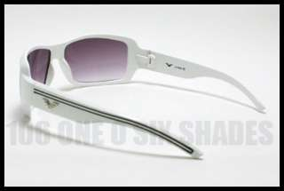 DESIGNERS Fashion Sunglasses Square Mens WHITE w/ Black Stripes