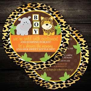 20 Circle Wild Jungle Zebra Print Baby Shower or Birthday Invitations
